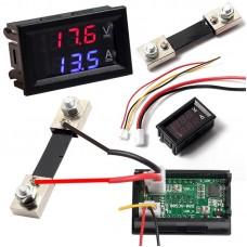 Panel Voltmeter Ammeter 0-100Volt, 0-100 Amperes blue-red