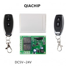 2-channel radio relay with 2 remotes Qiachip KR2402 DC6-30V