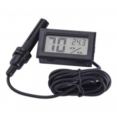 Digital thermometer - hygrometer (humidity meter) with remote probe for incubator, terrarium