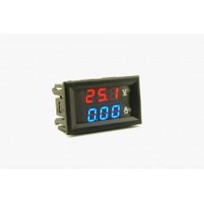 Panel Voltmeter Ammeter 0-100Volt, 0-10 Amperes blue-red