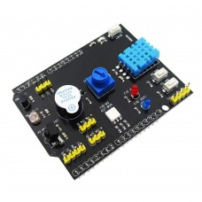 Multifunction expansion Board with DHT11, LM35, Rgb Led, IR receiver, buzzer, I2C for Arduino Uno R3